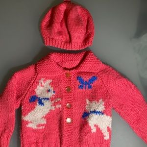 Vintage handmade sweater with dogs and hat